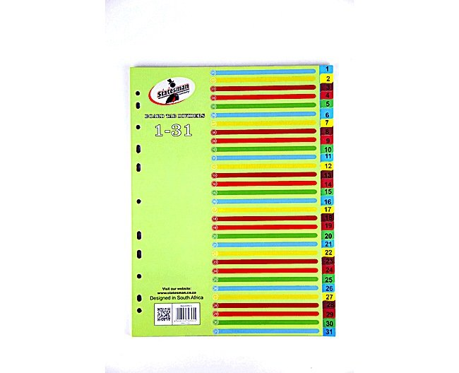 Cardboard Rainbow File Dividers1-31 1