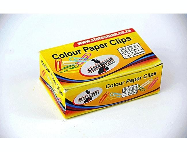 Paper Clip Statesman Assorted Colours 50mm PVC Coated 100pc Per Box 1