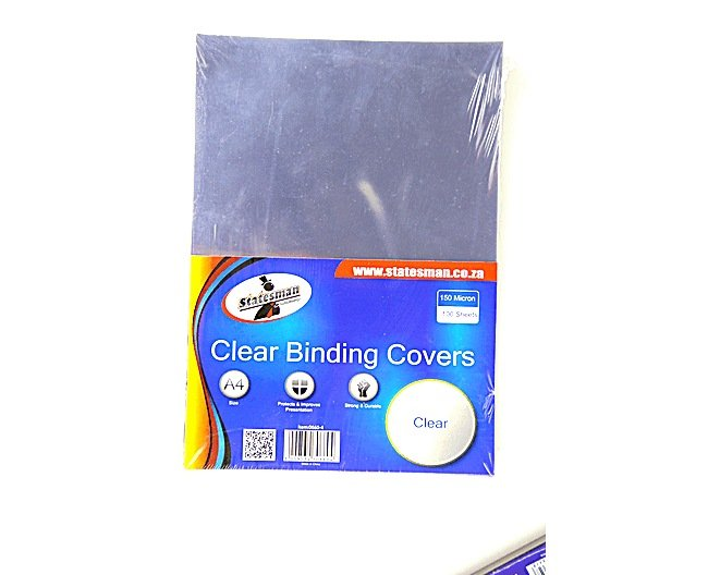 Binding Covers Clear Plain (150 Micron) 100 Pack 1