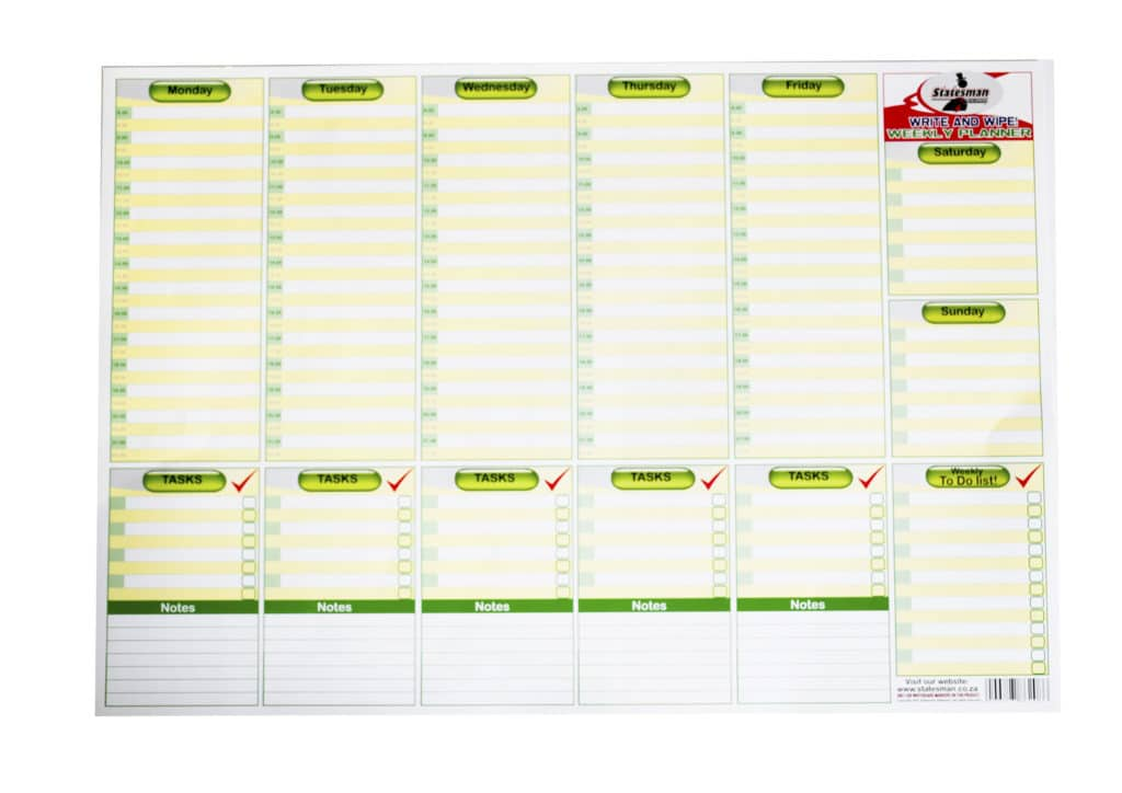 Poster Weekplanner Write and Wipe 1