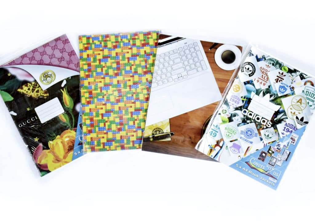 A4 Fancy Ready Cut Book Covers Assorted Funky Designs 5 Pack 1