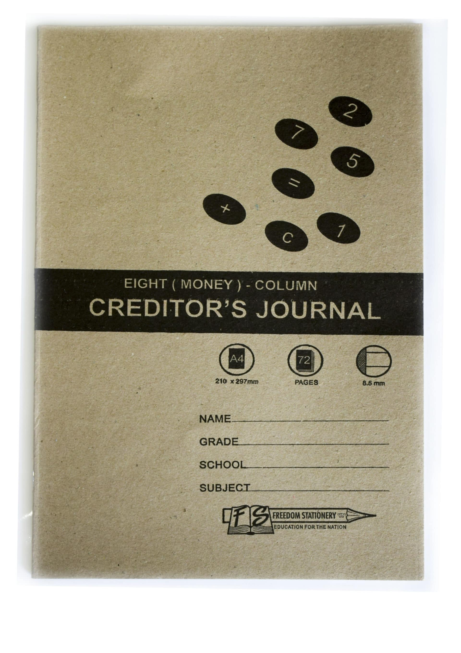 8 Column Creditors Journal 72 Page Soft Cover (2005) 1