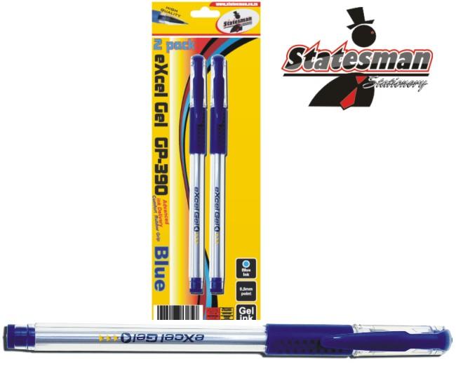 Excel Gel Ink Pens 2 Pack Blue 1