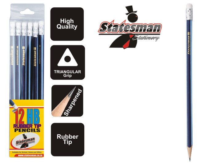 12 Pack of Statesman HB Triangular Grip Pencils With Rubber Tip 1