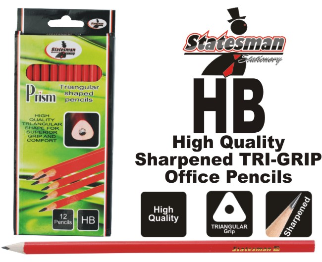Bright Red Triangular Grip Office Pencils HB 12 Pack 1