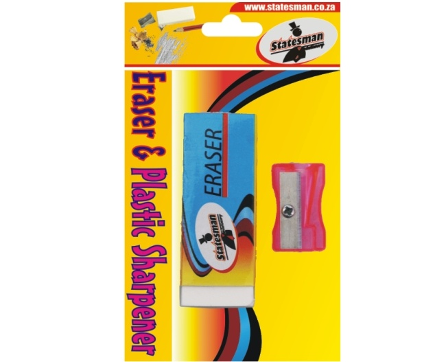 Eraser and Plastic Neon Sharpener 2 in 1 1
