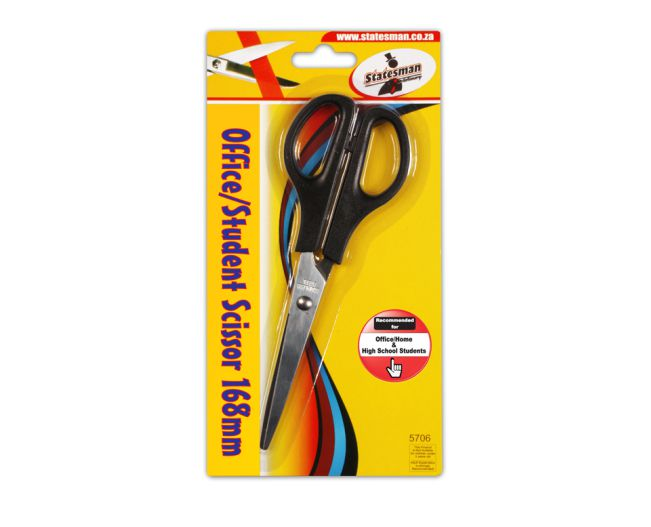 168mm Black Handled Scissors Office and Home 1