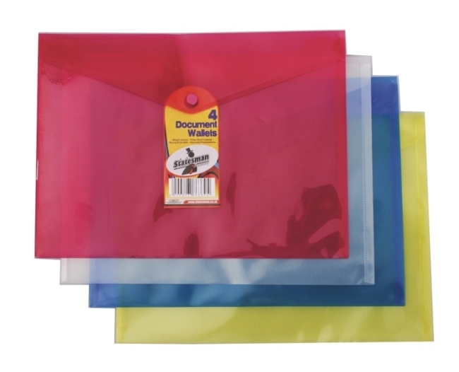 A4 Push Button Document Pouch Pack of 4 Assorted Colours 1