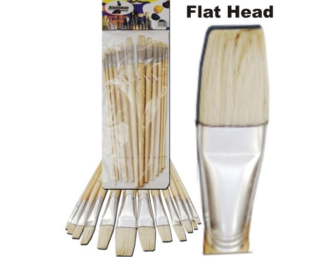 Artist Paint Brush Set 12 Piece Flat Tip 1