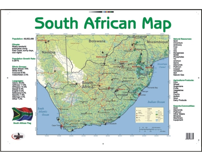 South African Map Write and Wipe Educational Poster 1