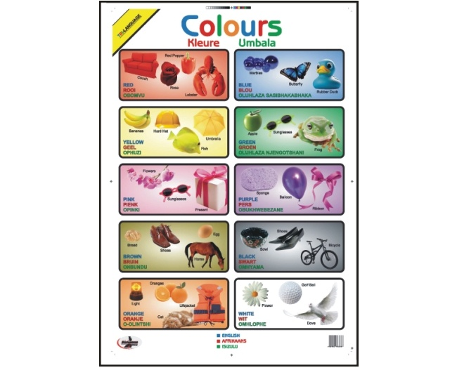 Write and Wipe Colours Educational Poster in English, Afrikaans and Zulu 1