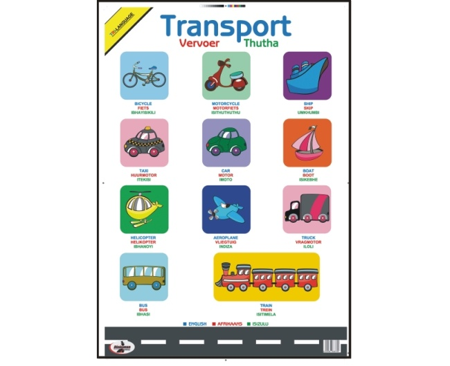 Transport Write and Wipe Educational Poster in English, Afrikaans and Zulu 1