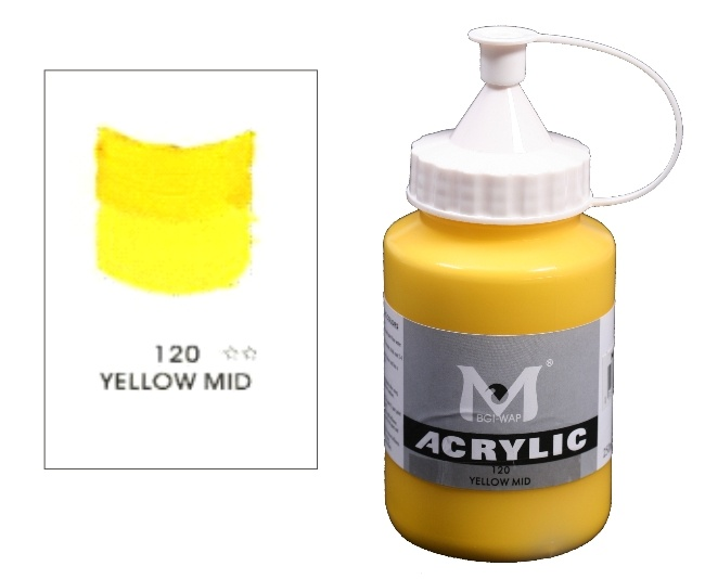 Number 120 Yellow Mid Professional Acrylic Paint 1