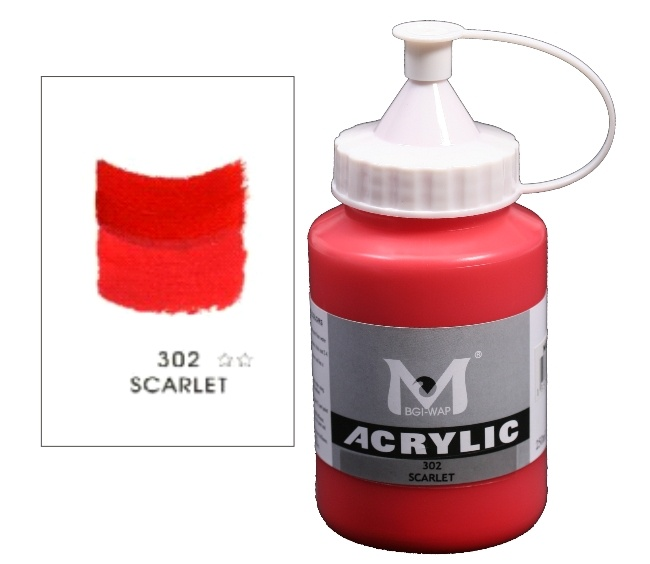 Number 302 Scarlet Professional Acrylic Paint 250ml 1