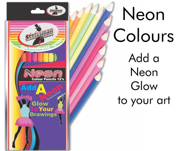 12 Pack of Neon Fluorescent Colour Pencils 1