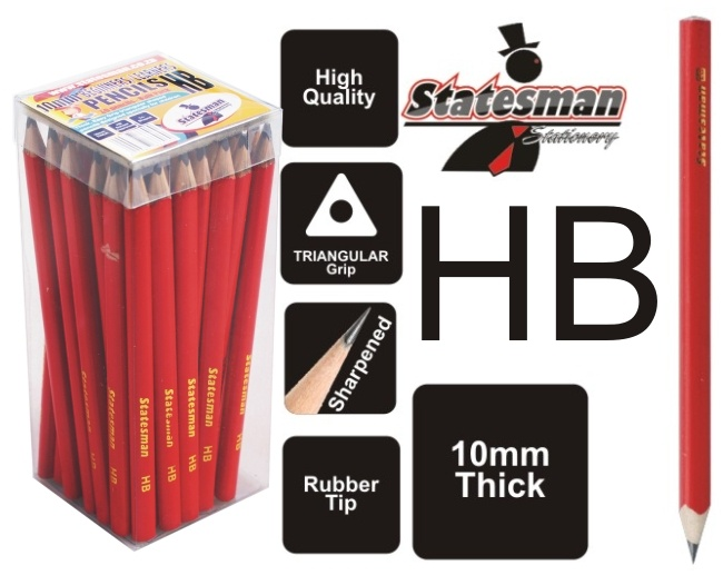 Thick Beginners / Learners 10mm 2b  Pencils 50 Pack 1