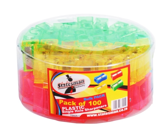 1 Hole Plastic Sharpeners 100 Pack Assorted 1