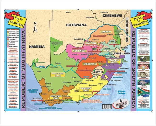 Poster Write and Wipe Republic of South African Map for Kids Booh Bear 1
