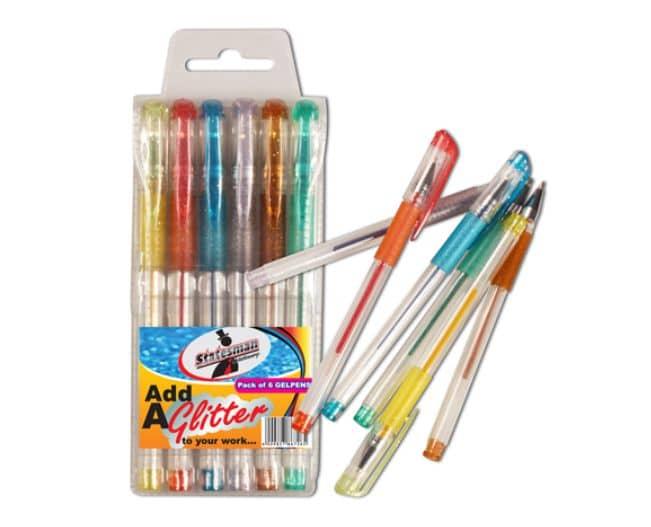 6 Glitter Gel Pens in a Pouch 1