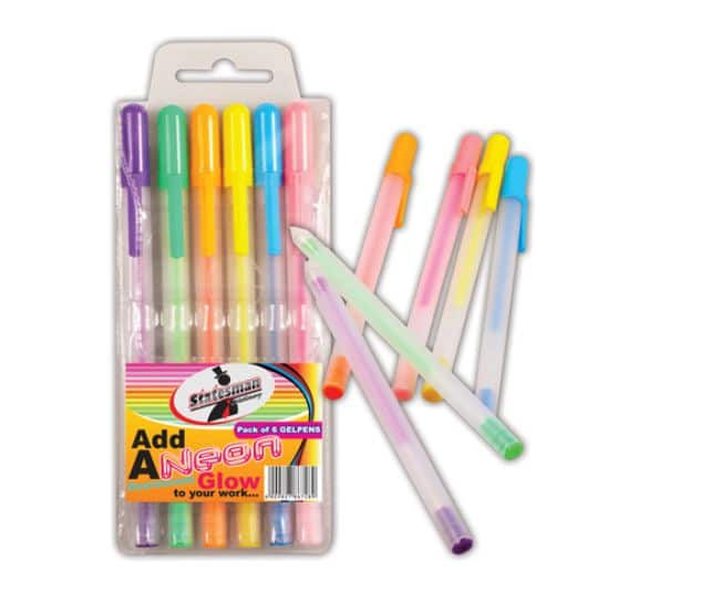 6 Neon Gel Pens in a Pouch 1
