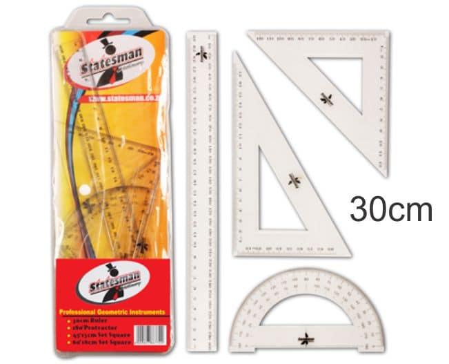 4 Piece of 30cm Precision Geometry Ruler Set 1