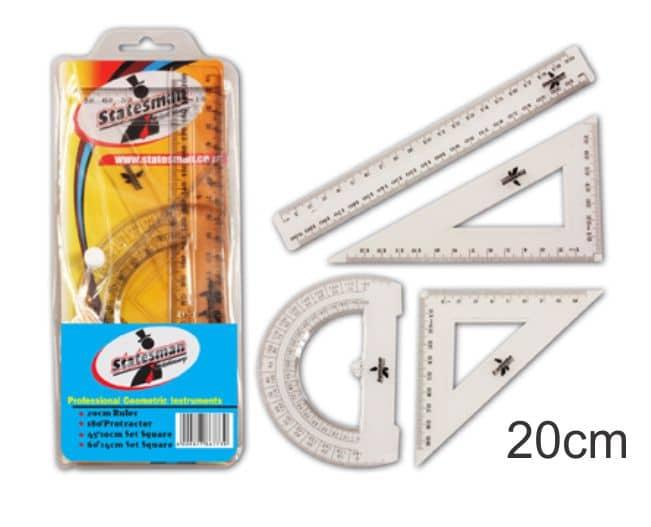 4 Piece of 20cm Precision Geometry Ruler Set 1