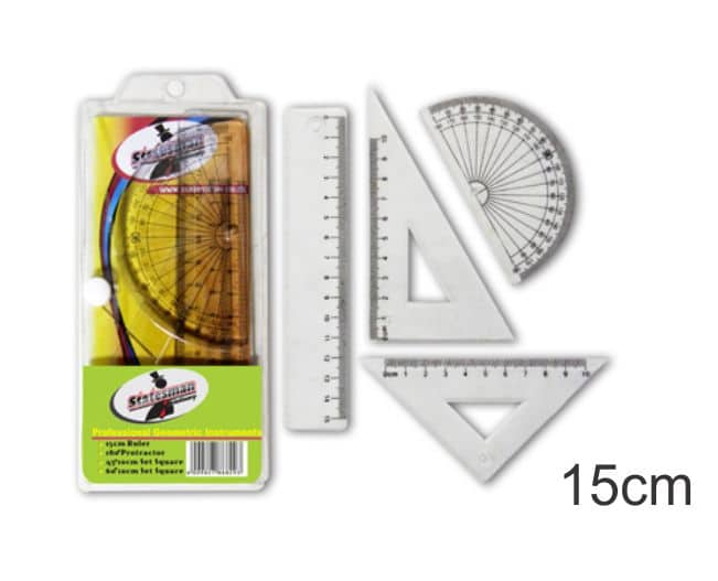 4 Piece  15cm Precision Geometry Ruler Set 1
