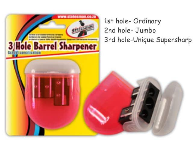 3 Hole Barrel Sharpener Plastic Good Quality 1