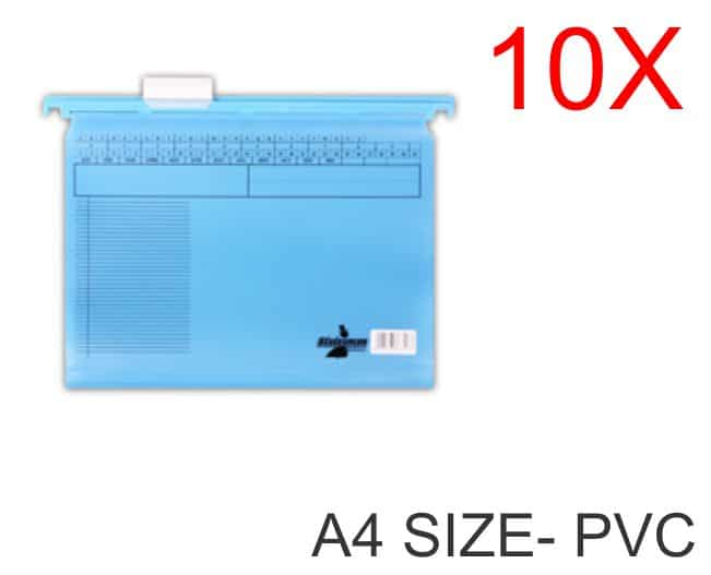 10 Pack of A4 Size PVC Suspension Files Blue 1