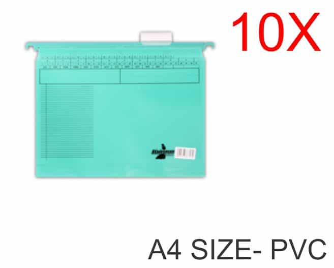 10 Pack of A4 Size PVC Suspension Files Green 1