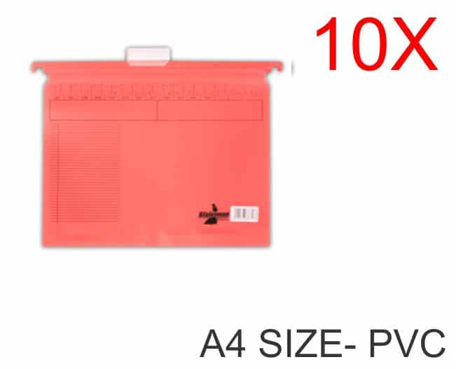 10 Pack of A4 Size PVC Suspension Files Red 1