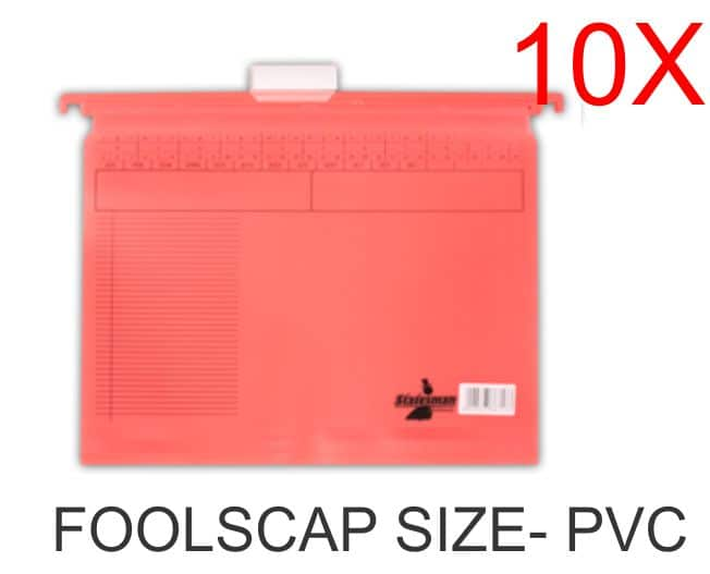 10 Pack of Foolscap PVC Suspension Files Red 1
