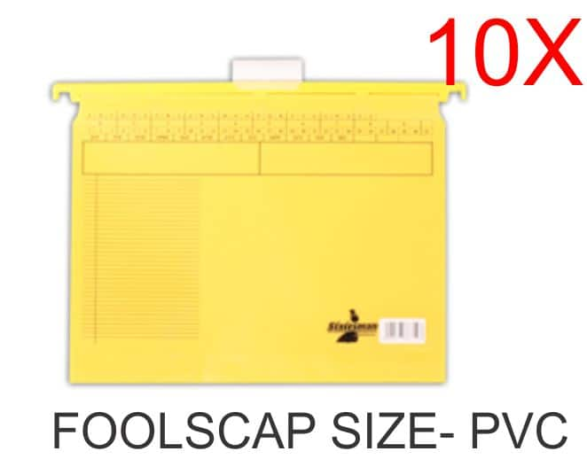 10 Pack of Foolscap PVC Suspension Files Yellow 1