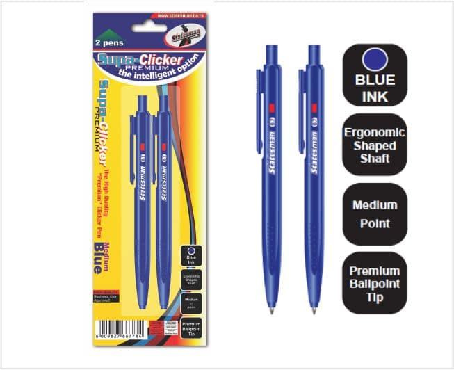 Supa  Click Pen 2's Carded Blue 1
