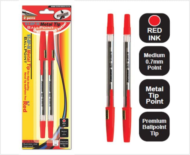 Metal Tip Pens, Red Ink 2s Carded 1
