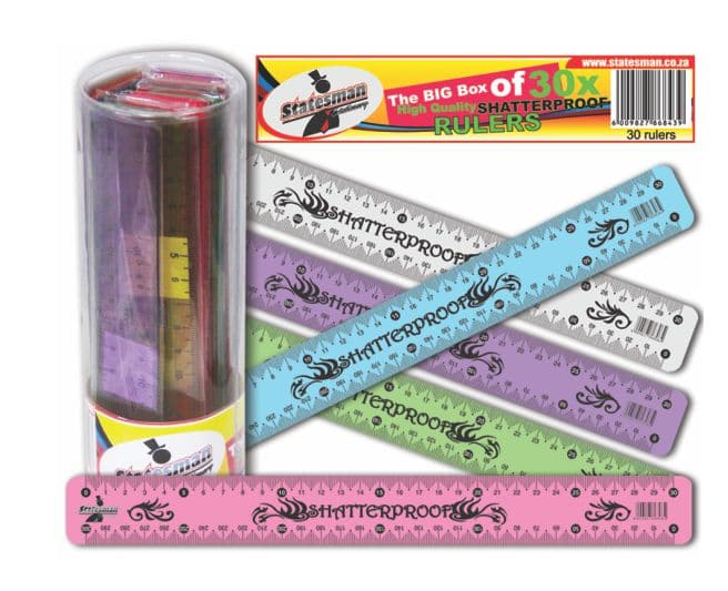36 Pack Tube of 30cm Shatterproof Rulers 2
