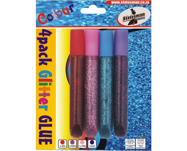 4 Colour 4 Pack Glitter Glue Purple, Red, Blue 1