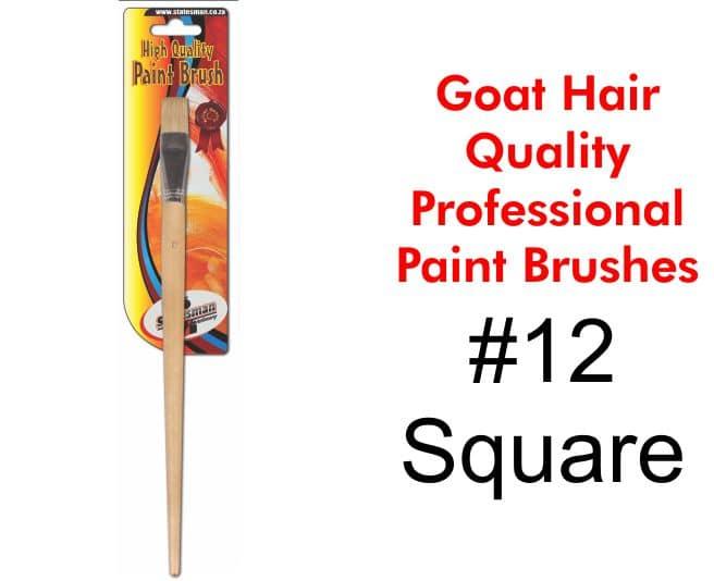 Goat Hair Paint Brush #12 Flat Tip 1