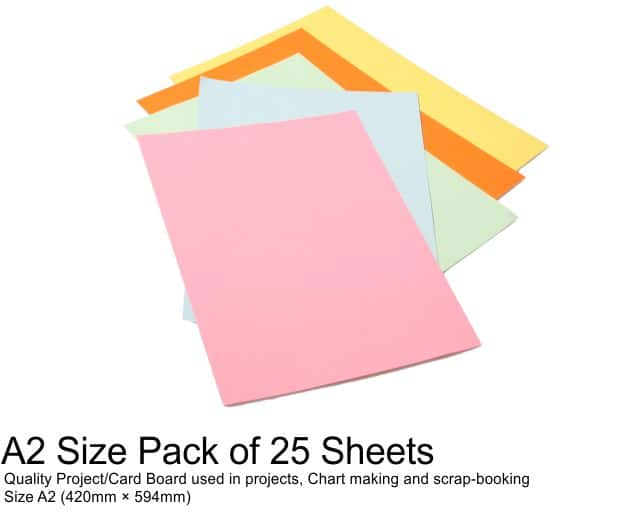 A2 Project Boards - 25 Sheets Assorted Colours 1