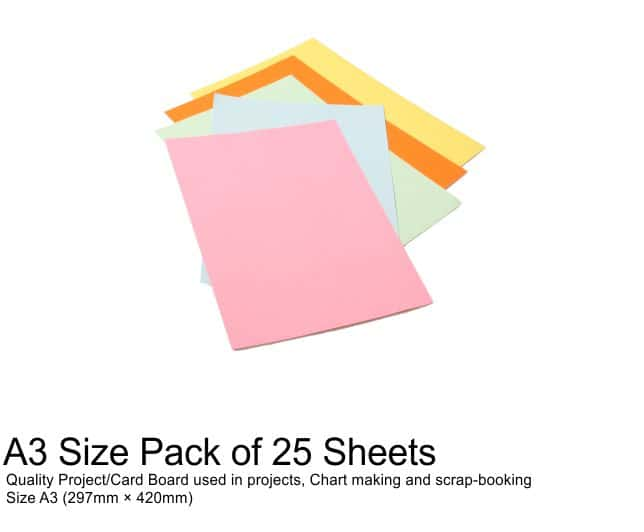 A3 Project Boards-25 Sheets Assorted Colours 1