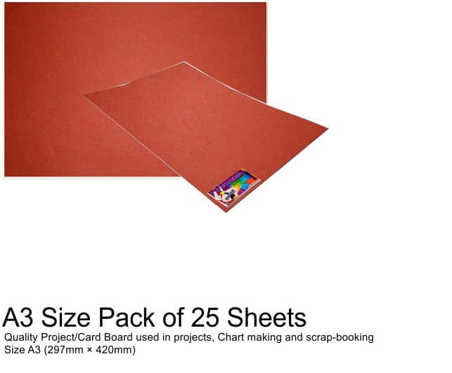 A3 Project Boards-25 Sheets Red 1