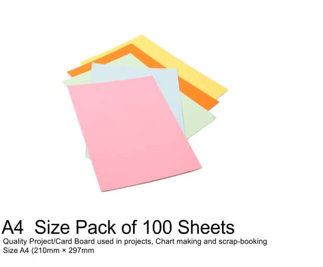 A4 Project Boards - 100 Sheets Assorted Colours 1
