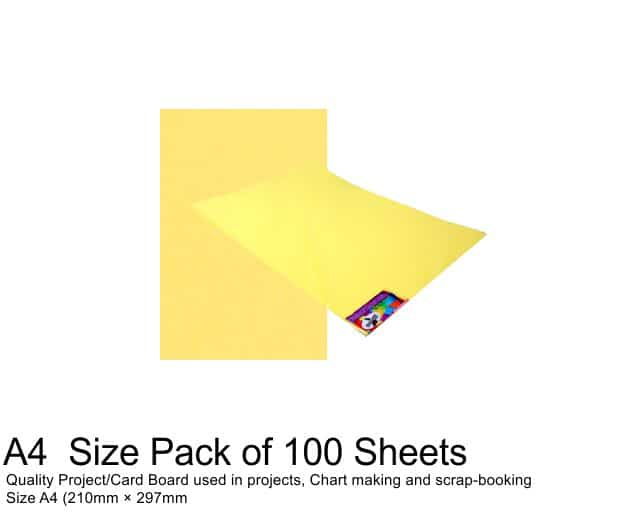 A4 Project Boards - 100 Sheets Light Yellow 1