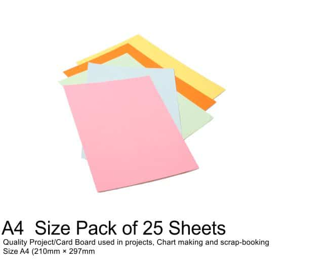 A4 Project Boards-25 Sheets Assorted Colours 1