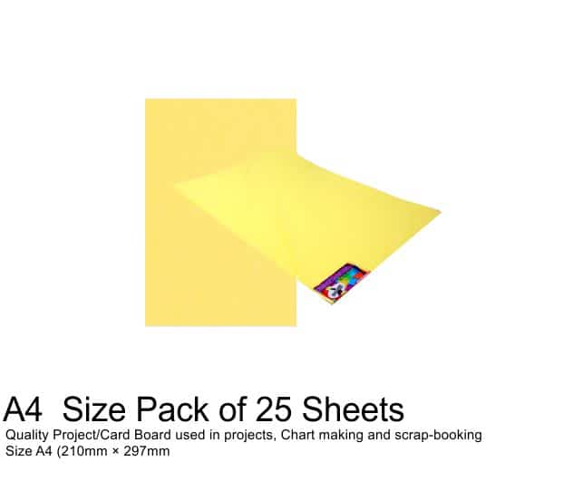 A4 Project Board - 25 Sheets Light Yellow 1