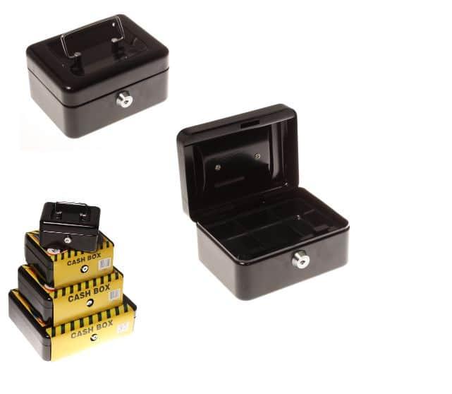 Statesman 6 Inch Cash Box Black Metal + Key 1