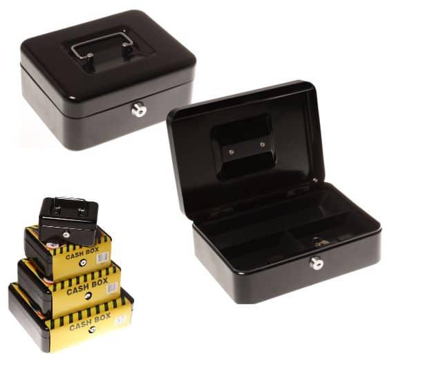 Statesman 8 Inch Cash Box Black Metal + Key 1