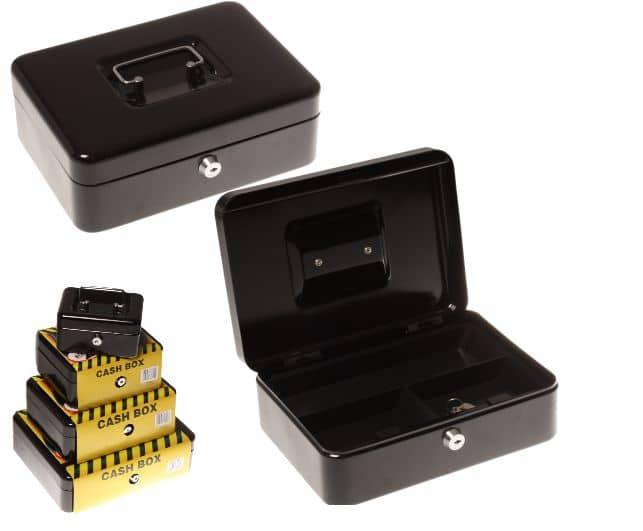 Statesman 10 Inch Cash Box Black Metal + Key 1