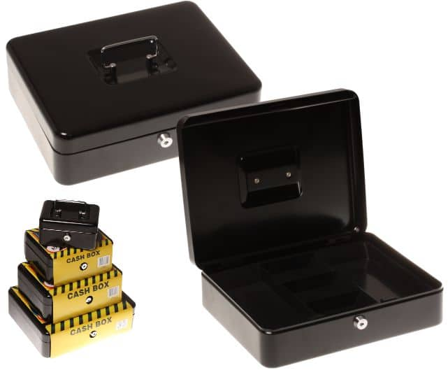Statesman 12 Inch Cash Box Black Metal + Key 1