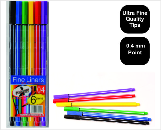 Pouch of 6 High Quality Statesman Fineliner Pens Special Offer 1